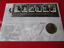 2017 Platinum Wedding Anniversary HM Queen £5 Pound Stamp and Coin Cover PNC