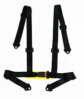 LOGO FREE 4-point Buckle Sports Racing Harness Seat Belt (Black)