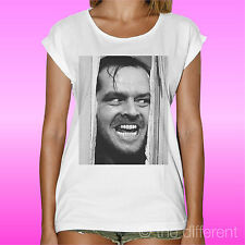 "T-Shirt White Woman "" Jack Nicholson Shining "" Gift Idea Road To Happiness"