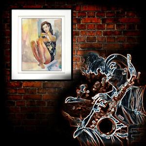 ❤️ ✦ UNIKAT Original Gemälde Bilder Aquarell Frau Porträt Nu Akt Erotik ☘️a2788