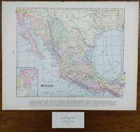 "Vintage 1900 MEXICO Map 14""x11"" ~ Old Antique Original ACAPULCO DURANGO TIJUANA"