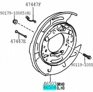 TOYOTA 46504-50030 Parking Brake Plate SUB ASSY LH Genuine Parts CENTURY CELSIOR