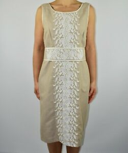 Phase Eight Beige Pencil Dress Embroidered Summer Spring Wedding Size 14 AR