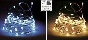 LED Drahtlichterkette mit Timer Micro Lichterkette LED warmweiß / kaltweiß KI