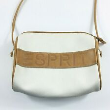 Vintage Esprit Leather Crossbody Bag Off White & Brown Small Size Zipper Closure