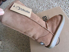 NEW UKALA SYDNEY HIGH FLEECE LINED SUEDE BOOTS GIRLS 8 CHESTNUT  FREE SHIP