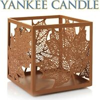 Yankee Candle 🍁 LARGE 🍁 AUBURN FLICKER LACY LEAVES Jar Candle Holder 🍁 NEW
