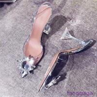 Transparent high heels Women Pumps Pointed Toe Stiletto Party Dress Shoes Size @