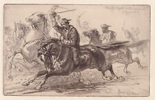 the Old West! fine 1885 ETCHING by James D. Smillie: Rough Sport in the Yosemite
