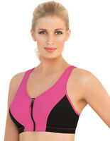 FRONT-CLOSE ZIP $54 SPORT Bra (Ultra Max Support + 2-Layer-Wicking-Cups!) Pink