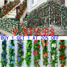 2PC 8Ft Artificial Rose Garland Silk Flower Vine Ivy Wedding Garden String Decor