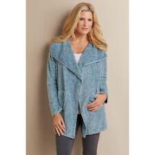Hugs for Soft Surroundings Womens Gray Fleece Cardigan Sweater M C-91