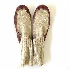 Acorn Slipper Socks Men Sz 7.5 - 8.5 Gray Cotton Leather Soles Camping Slippers