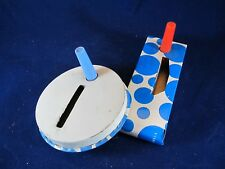 Original Vintage Metal Noise Markers- Clackers- Blue and White Polka Dots