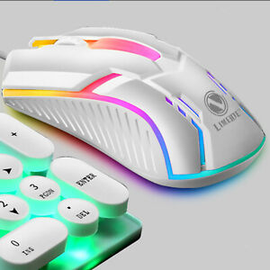 E-Sports USB RGB LED Wired Gaming Mouse 2400 DPI PC Gamer Optical Mice Mute