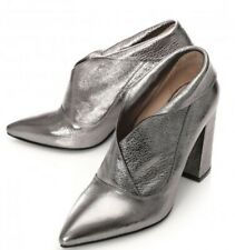 Moda In Pelle cimmie Pewter Metallic Leder Stiefel, UK 7/eu 40
