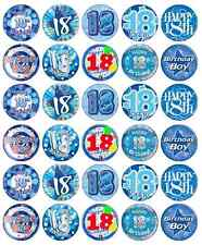 30 x 18th Birthday Boy Cupcake Toppers Edible Wafer Paper Fairy Cake Topper Blue