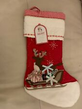 Pottery Barn Kids REINDEER SLEIGH Quilted Christmas 🎄 Stocking