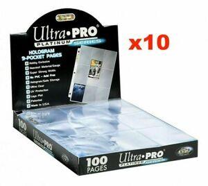 10 x ULTRA PRO PLATINUM TRADING CARD 9 POCKET 3 HOLES AFL & POKEMON SLEEVE PAGES
