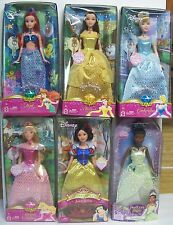 Barbie Disney Princess 6 Dolls Ariel Belle Cinderella Sleeping Snow Tiana NEW