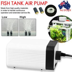 Aquarium Oxygen Pump Aqua Fish Tank Pond Air Bubble Disk Stone Aerator 2 Outlets