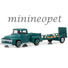 GREENLIGHT 32130 A 1954 FORD F-100 PICK UP TRUCK & UTILITY TRAILER 1/64 GREEN