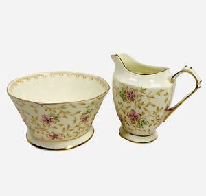 Plant Tuscan Fine Bone China Made in England Creamer Open Sugar Bowl