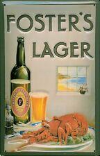 FOSTERS LAGER LOBSTER Vintage Metal Pub Sign | 3D Embossed Steel | Home Bar