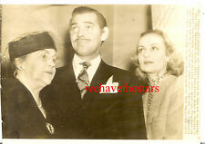 Vintage Carole Lombard Clark Gable & Mother NEWLY MARRIED '39 PRESS OVERSIZE