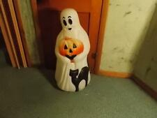 "Big Bright Empire 35"" Height Lighted Ghost With Black Cat  Halloween Blow Mold"