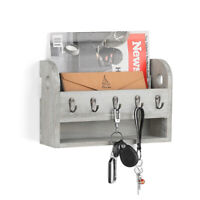 Rustic Wall-Mounted Wood Rack with 5 Key Hooks Letter Holder Newspaper Organizer