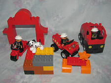 Lego Duplo Fire Fighter Lot - 3 Figures, Dog, Truck, Motorcycle, Car