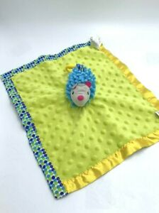 Early Years Hedgehog Security Blanket Green Blue Bump Dog Yellow Clip Satin Back