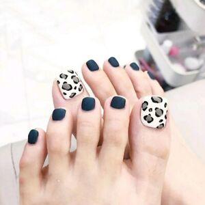 False Nails Full Press On Toe Nails Artificial False Toenails Matte Navy Leopard