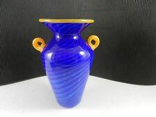 """Cliff Goodman Art Glass Cased Urn Vase Royal Blue Marigold Handles 6 1/4"""" T Sgnd"""