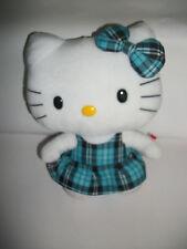"10"" Ty Beanie Buddies Hello Kitty Blue Plaid Dress W/ Bow Plush Stuffed Animal"