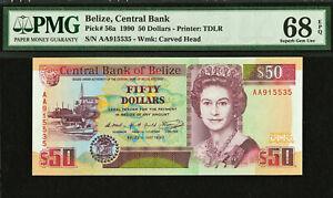 Belize 50 Dollars AA 1990 QEII Pick-56a SUPERB GEM UNC PMG 68 EPQ HIGHEST GRADED