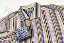 ROBERT GRAHAM Shirt Men's XL CARS Color Stripe Cotton Embroidery Cuff Gift