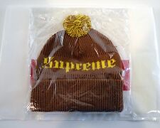 Supreme Old English Gothic Beanie Hat Cap Brown Yellow Brand New