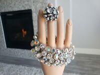 $1,000 Silver Pewter Avant Gard Chunky Crystal Bracelet Ring Set 7.5 Signed