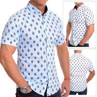 Mens casual Short Sleeve shirt Soft Cotton Diamond Pattern Linen like white blue