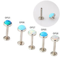 1x Opal Lip Bar Labret Ring Internally Thread Ear Tragus Cartilage Stud Piercing