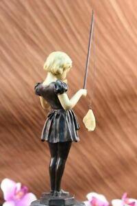 Signed Preiss Little Girl Fishing Bronze Statue Sculpture Figurine Art Decorativ