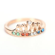 High Quality Lovely Cute Gold Plated Crown Color Crystal Rhinestone Light Ring L