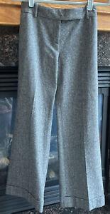 Ann Taylor Womens Sz 0 Gray Wool Tweed Dress Pants Cuffed Trousers Career Lined
