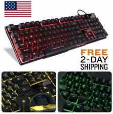 Backlit Keyboard Gaming Computer PC MAC Wired LED Illuminated Colors Backlight