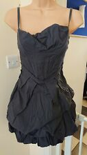 All Saints Pirro charcoal grey corset alternative Goth steampunk dress size 10.
