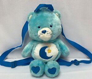 Care Bears Bedtime Bear Sleepy Teddy Backpack Bag 2003 Plush Blue Moon NiceShape