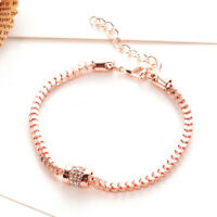 Women Rose Gold Plated Rhinestones Snake Chain Charm Bracelets Fashion Jewelry