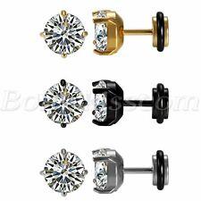 Round Cubic Zirconia Ear Studs Earrings 2pcs Men's Women's Stainless Steel Charm